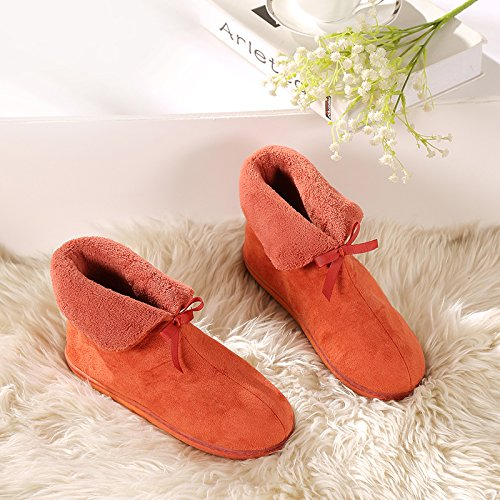 LaxBa Glisser sur lhiver au chaud en Fausse Fourrure Chaussons neige bordée Chaussures pour hommes , Orange