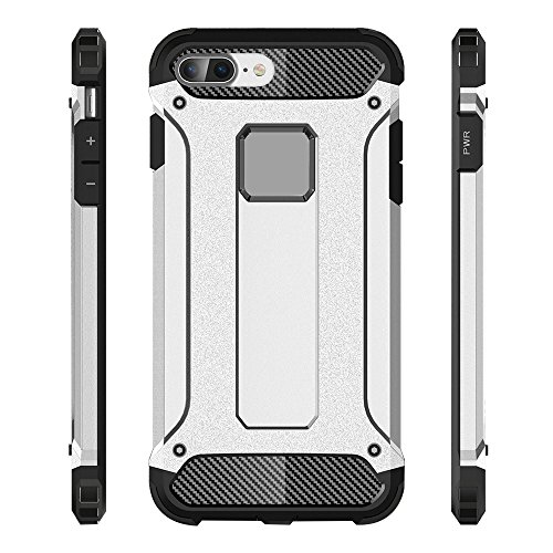 iPhone 8 Plus Custodia, 2-in-1 Cases Protettivo Estrema Assorbimento-Urti Armatura Cover Per iPhone 8 Plus. (Bianco) Blu