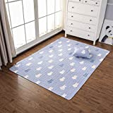 Liveinu Baumwolle Tatami Teppich mit Anti-Rutsch Unterstützung Faltbarer Abwaschbarer Kinderteppich Spielteppich Babyteppich Für Wohnzimmer 70x90cm Kaninchen Cartoon