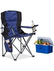 Relaxdays Chaise de camping pliante chaise de jardin pliable avec dossier porte-gobelet et accoudoirs HxlxP : 93 x 77 x 52 cm, bleu noir