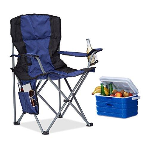 Relaxdays Campingstuhl faltbar, mit Getränkehalter, mit Rückenlehne und Armlehne, HxBxT: 93x77x52 cm, blau-schwarz