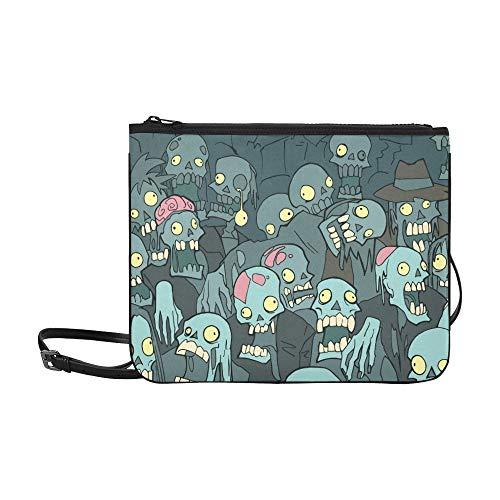 Halloween Crowd Creepy Cartoon Zombies Benutzerdefinierte hochwertige Nylon Slim Clutch Crossbody Tasche Umhängetasche