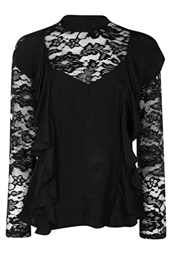 Noir Femme Evie High Neck Lace Sleeve Blouse Noir