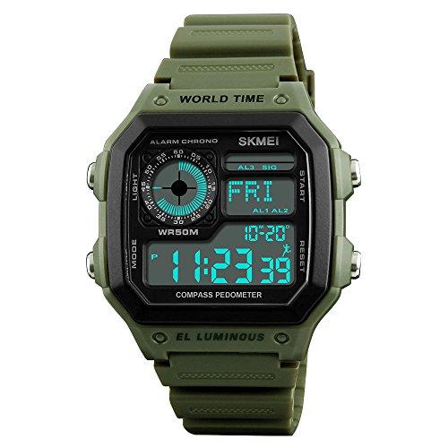 TONSHEN Herrenuhr Damen Digital Kompass Uhren Wasserdicht Outdoor Sportuhr LED Elektronik Militär Schrittzähler Kalorien Double Zeit Alarm Stoppuhr Plastik Armbanduhr (Grün)