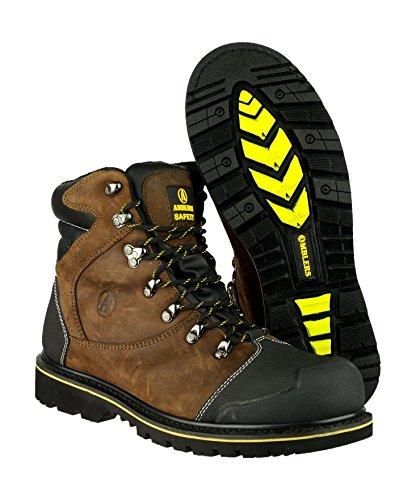 Amblers Safety - FS227 Safety Boot - Mens - Brown - Steel Toe Cap Work - EU / UK Braun