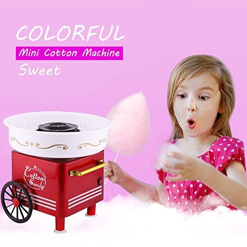 Acecoree Zuckerwattemaschine für Zuhause, 450 W Mini Zuckerwatte Maschine mit 2-Rad im Verkaufswagen-Design (Rot)