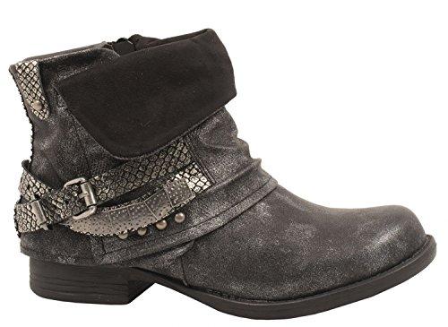 Elara Damen Stiefeletten   Bequeme Biker Boots   Metallic Print Nieten   Chunkyryan KA16-68-1-Schwarz-40