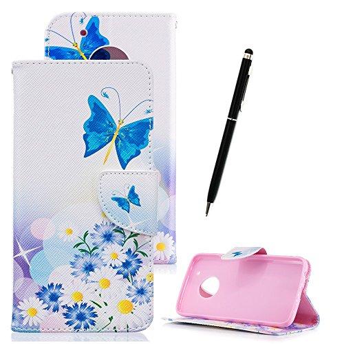 Lederhülle für Moto G5, Zcro Schutzhülle Magnet Dünn Brieftasche Wallet Handyhülle Ledertasche Etui Flip Case mit Muster Kartenfach Frei Schwarz Eingabestift für Motorola Moto G5 (Blaue Schmetterling Blumen)