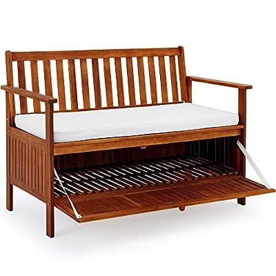 Gartenbank 2in1 mit Auflagenbox Sitzbank Holzbank Parkbank Bank inkl Sitzauflage 120cm