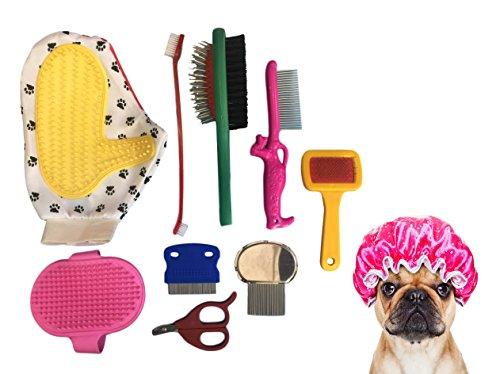 ducomi Kit Pflege Hunde und Katzen bestehend aus Nagelschere, Kamm, Bürste, Handschuhe und Bürste–Werkzeug-Set für-Fell Kurz und lang–Zubehör für die Toilette, die Pflege und die Hygiene des Ihr Welpe
