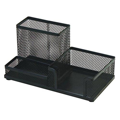 Clispeed portapenne da scrivania in metallo con scomparto organizzatore multifunzione (nero)