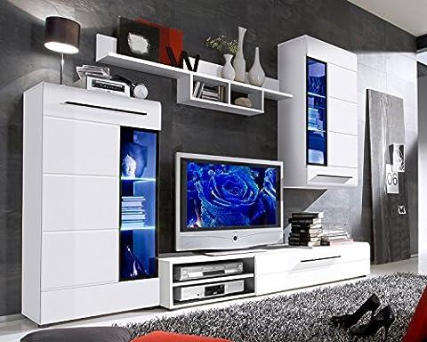 Wohnwand Anbauwand Wohnzimmerschrank 4-tlg. SUSANNE | Schwarz | Weiß Hochglanz | LED-Beleuchtung