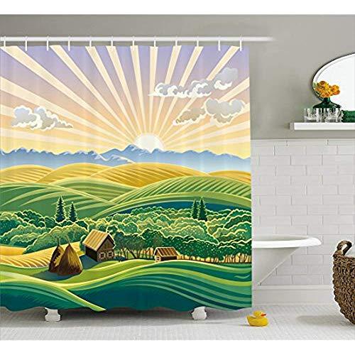 Yeuss Landschaft Duschvorhang, ländliches Design mit Hügeln Wald und Häuser Hütten Sonnenstrahlen Landwirtschaft Illustration,Stoff Badezimmer Dekor Set mit Haken,Multicolor 66'x72'
