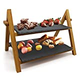 VanGogh Premium Bamboo Rustic Slate Boards 2 Tier Cake Stand Foldable Rack Food/Tapas/Sushi/Appetiser Dishes Serving Tray Plates Platters (1pc)
