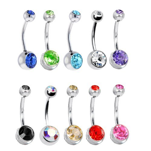 10 Belly Button Ring Lot Double Jeweled Belly Rings Surgical Steel 14 Gauge Crystal Gem (10 Pieces) by AmericanPro Tattoo (Belly Button Ring 14 Gauge)