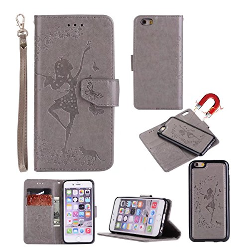 Abnehmbare 2 in 1 Crazy Horse Texture PU Ledertasche, Fairy Girl Embossed Pattern Flip Stand Case Tasche mit Lanyard & Card Cash Slots für iPhone 6 Plus & 6s Plus ( Color : Rosegold ) Gray