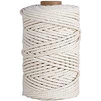 HUTHIM Corde Macramé 5mm x 100m, 100% Coton Fil Macramé Ficelle Cordelette, Macrame Corde pour Tricotage DIY Decoration…