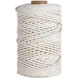 HUTHIM Macrame koord 5 mm x 300 ft, 100% katoenen touw ambachtelijke touw voor muur opknoping plantenhangers breien beginners
