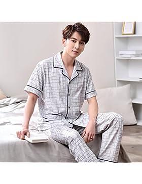 Mangeoo Mangas Cortas de Verano para Hombres, Pijamas Finos, sección Fina de Verano para Hombres Mallas 100% algodón...
