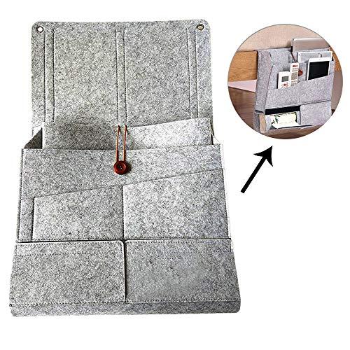Multifunktions-Aufbewahrungstasche für den Nachttisch,Hängende Organizer-Tasche für Studentenwohnheim/Babybett/Rückenlehne mit grauem Filz