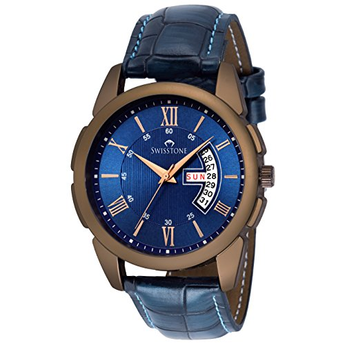 SWISSTONE Leather Strap Analogue Blue Dial MenR...