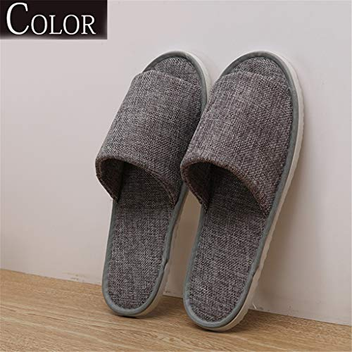 Spa slippers 10 paia open toe pantofole antiscivolo, lavabili e non monouso e portatile per la casa, hotel,gray