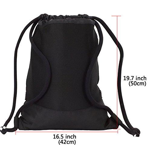 Imagen de  de cordón bolsa de cuerdas coolzon® unisex saco deporte bolso gimnasio de nylon con bolsillo grande de cremallera para adultos y niños 50x42cm/ 19.7
