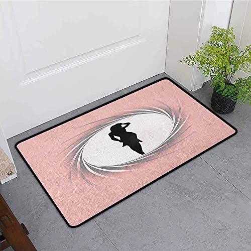 Außerhalb Fußmatte, Girls Hot Lady Bild in Spiral Zoom Kreis Design in modernen warmen Pastelltönen Artsy Print, Easy Clean Teppiche, Pink Black Badematte (Der Girl In Dusche Hot)