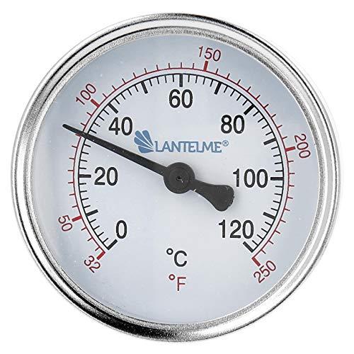 Lantelme Thermometer Heizung 120 °C Tauchhülse Kaltwasser Zeigerthermometer schwarz Analog Heizungsthermometer Bimetall 4672