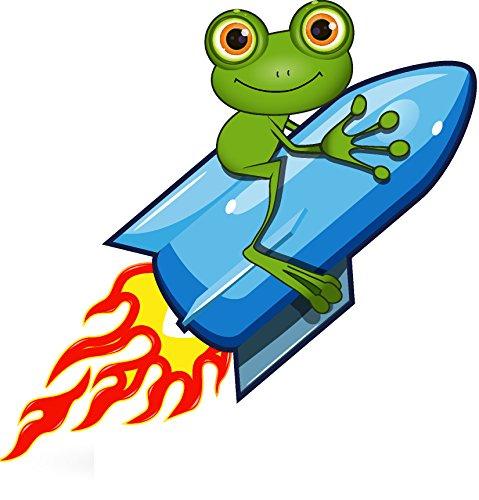 Auto Aufkleber Cool (8 x 8,5 cm Autoaufkleber lustiger Frosch auf Rakete frog Kröte funny cool Sticker Aufkleber fürs Auto Motorrad Handy Laptop outdoor / indoor wasserfest)