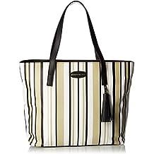 Leey Ragazza Unisex Adulti Borsa Mare da Donna a Spalla in Tessuto con Righe Colorate 5 Tasche con Chiusura a Zip Base Rinforzata per Spiaggia Campeggio Piscina 45 35cm (A) NlRQzGiry