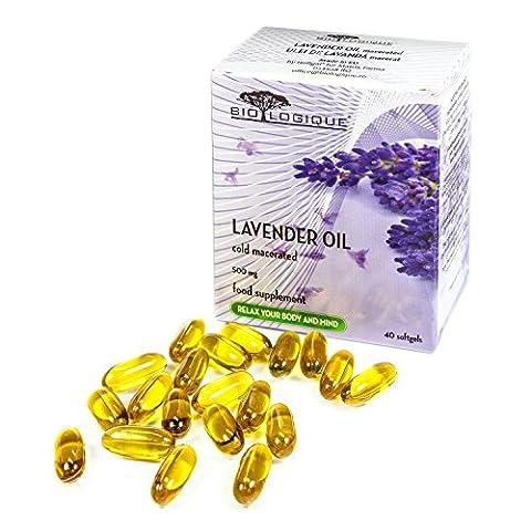 Lavendelöl 500mg, 40 Weichkapseln, 100 % kalt eingeweichter reiner und natürlicher Extrakt, löst die Angstgefühle und den Stress ab, beruhigt und mildert leichte (Versorgung Salz)