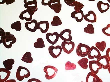 1 Pack. 'Kleine Herzen & Herzen mit Ausschnitt', rot - Flitter / Streuartikel, ca. 14 gr. (Partyartikel Silvester Für)