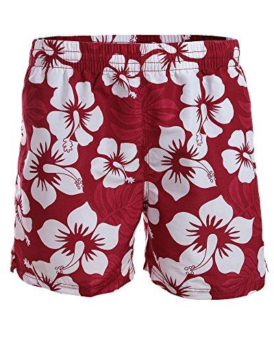 Doppelpack / Herren Boardshorts / Badeshorts / Badehose / Hibiskus / Surfen / Lässig / angesagte Trendfarben / Sommer / Strand 1214-f5272 Kurz 1 Rot / 1 Dunkelrot/Weiß Hibiskus Kurz (1101)