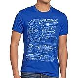 style3 NCC-1701-D Blaupause T-Shirt Herren trek trekkie star, Größe:XL, Farbe:Blau