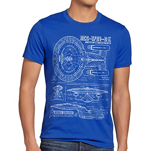 style3 NCC-1701-D Cianografia T-Shirt da uomo trek trekkie star , Dimensione:M;Colore:blu