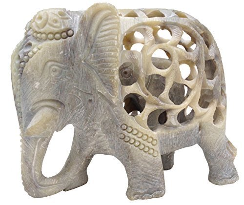 SouvNear estatua del elefante regalo / figura / escultura / estatuilla - figura de elefante de esteatita tallados a mano con el bebé en el interior - Hogar y Oficina Decoración