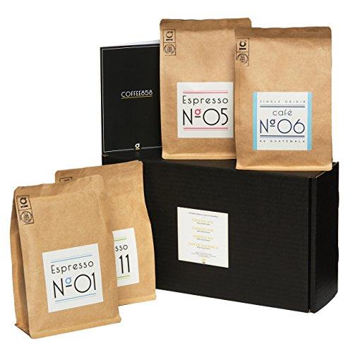 Probier-Paket von Coffee858 - 4 x 250g Handgerösteter Premium Kaffee und Espresso - Das Geschenk-Set für Kaffeekenner - ganze Bohnen