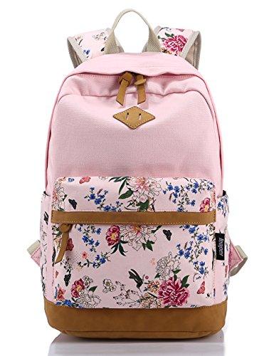 Leaper Vintage Canvas Leicht Blumen Rucksack Vintage Daypack Schulrucksäcke für Outdoor Picknick Außflug Uni(Rosa)