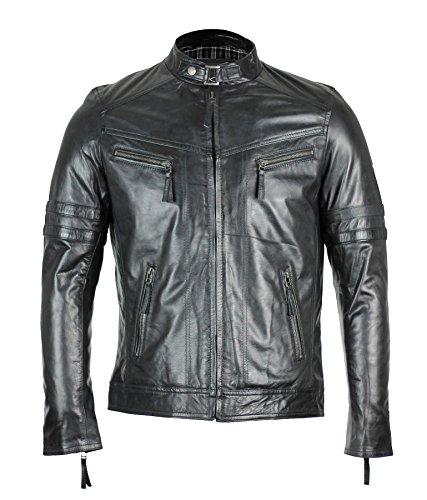 En cuir nappa véritable pour homme Vintage Veste de motard ajusté zippée et poches Tab colliers Noir - Noir