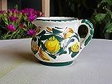 Brocca in ceramica artistica siciliana. Lattiera dipinta a mano con limoni. Bricco per latte fatto a mano. Le ceramiche di Ketty Messina