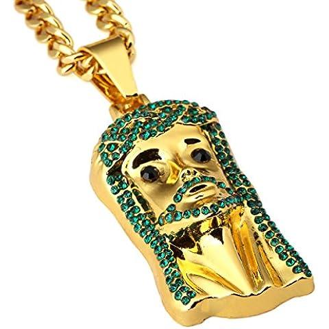 nyuk da uomo COLOR ORO 18K Diamante Gesù Ciondolo Hip Hop collana
