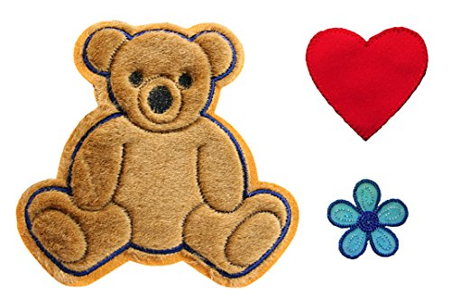 Altotux Brown Teddy Bear Red Heart Blue Flower Kaylee Firefly Costume Embroidered Sew On Patches Applique DIY Cosplay Craft Supplies by Altotux (Firefly Kaylee Kostüm)