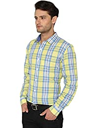 Bombay High Men's Full Sleeve Casual Yellow Checks 100% cotton Shirt
