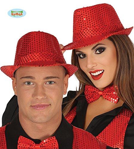 Guirca Roter Gangster Hut mit Pailletten Gangsterhut Zum -