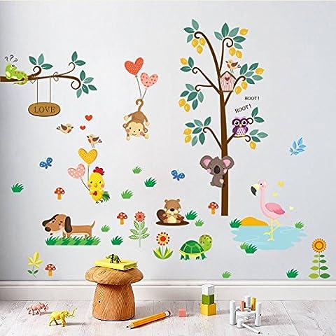 Wallpark Dessin animé Animal Forêt Zoo Mignon Singe Hibou Chien Arbre Amovible Stickers Muraux Autocollants, Enfants Bébé Chambre Pépinière DIY Décoratif Adhésif Stickers Mural