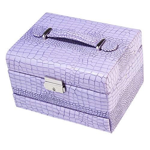 ZXKS Boîte à Bijoux Stockage Automatique de Bijoux en Cuir en Trois Couches Boîte de Stockage de Bijoux cosmétiques,Purple