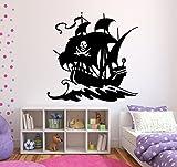 Wandtattoo Piratenschiff in ihrer Wunschfarbe ca. 100cm x 100cm Motiv 327/1 Kinderzimmer Geschenk