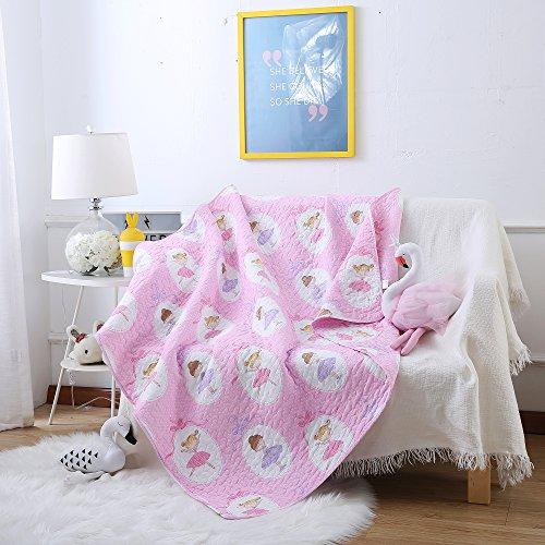 """Steppdecke von Ustide für Babybetten, doppelseitige Decke aus Baumwolle für Kinder, 110 x 130 cm, Zug-Design, baumwolle, Polka Dots Girls, 43\""""x51\"""""""