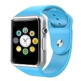 C-Xka Bluetooth Smart Watch entsperrt Watch Phone Kann anrufen und Text mit Touchscreen Kamera Benachrichtigung Sync (Farbe : Blue)